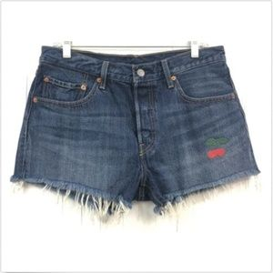 Levi's NWOT Cutoff Jean Shorts Frayed W30 Cherries